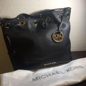 Michael Kors Black Leather Bucket Bag